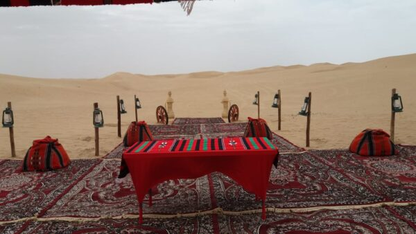 VIP Majlis desert safari setup outside campsite
