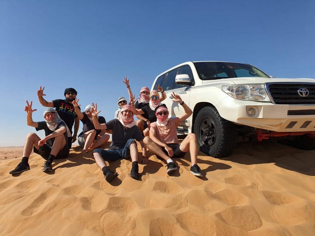 Luxury desert safari dubai group photo