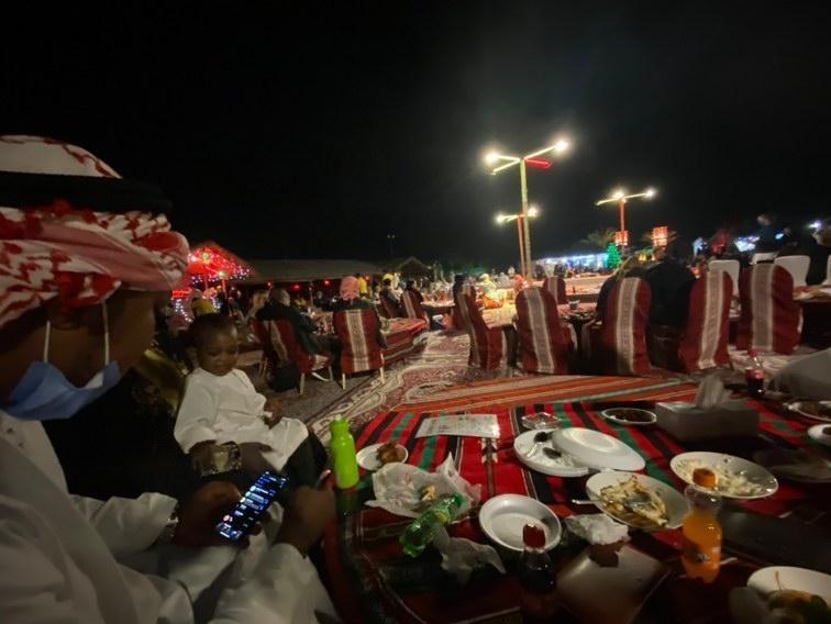 dinner table in desert safari campsite